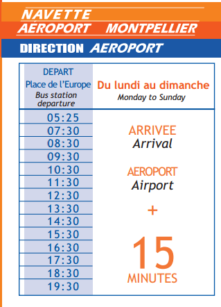 Timetable Montpellier Airport Shuttle